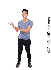 Young asian man smile to the camera, prensenting hand gesture