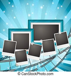 frames and photos with blue retro filmstrip composition