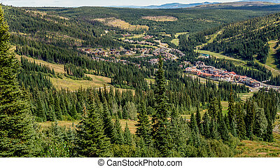 Birds eye view of Sun Peaks Village in the Sushwap highlands...