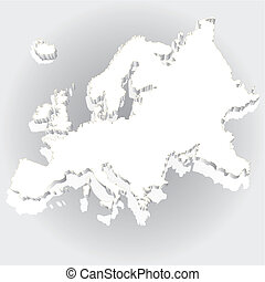 Isolated blue Europe map 3d - Vector illustration of map of...