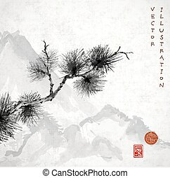 Pine tree branch and mountains hand-drawn in traditional...