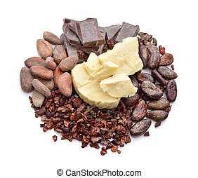 Cocoa products (Beans, nibs, chocolate, butter) isolated
