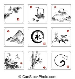 Collection of elements in Japanese style sumie.