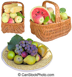 Baskets with fruit and vegetables. - Fruit, apples, basket,...
