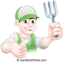 Cartoon Happy Gardener With Fork