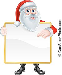 Santa Holding Sign - Christmas cartoon illustration of Santa...