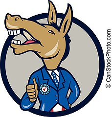 Democrat Donkey Mascot Thumbs Up Circle Cartoon -...