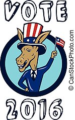Vote 2016 Democrat Donkey Mascot Flag Circle Cartoon -...