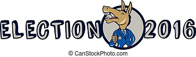 Election 2016 Democrat Donkey Mascot Cartoon - Illustration...