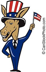 Democrat Donkey Mascot Waving Flag Cartoon - Illustration of...