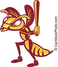 Hornet Baseball Player Batting Isolated Retro - Illustration...