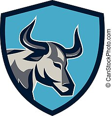 Texas Longhorn Bull Head Shield Retro