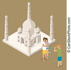 Couple Making Selfie Near The Taj Mahal - Vector flat...