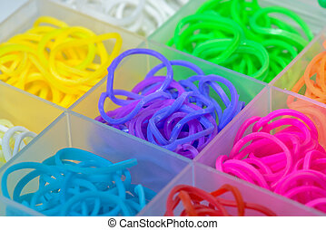 Elastic rainbow loom bands close up view
