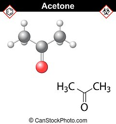 Acetone model and chemical formula - Acetone molecule -...