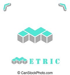 M letter in isometric style - M letter, logo concept on...