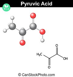 Pyruvic acid molecule, pyruvate, structural chemical formula...