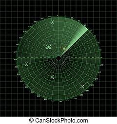 Radar screen on grid