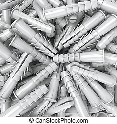 Dowels  - 3D rendering of a heap of dowels