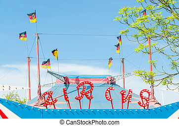 Circus tent with flags - Beautiful colorful circus tent with...
