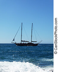 Old Sailing Ship - An old fashioned sailing ship in the sea
