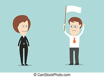 Businessman with white flag conceded defeat - Businessman...