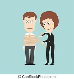 Business woman tying up businessman with rough rope, for...