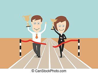 Business team crossing finish line with trophies - Business...
