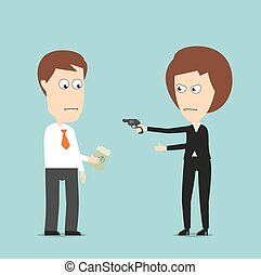 Business woman extorts money with a gun - Business woman...