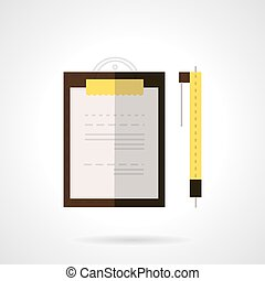 Clipboard and pen flat vector icon