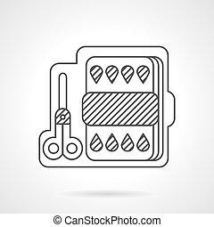 Kit for children art linear vector icon