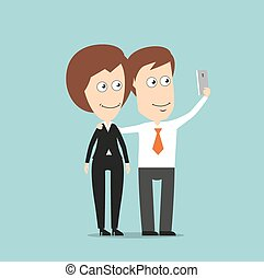 Businessman and business woman taking selfie - Happy...