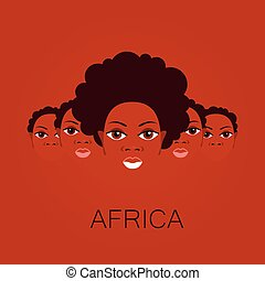 africa people sign - Africa. Portrait of Africans. Template...