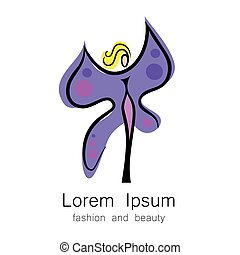 fashion beauty logo template - Woman - butterfly, idea-sign...