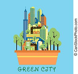 Green city eco concept with modern urban landscape