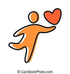love heart person icon