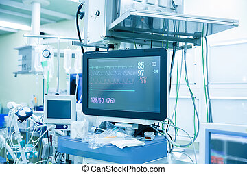 Vital functions (vital signs) monitor in an operating room -...
