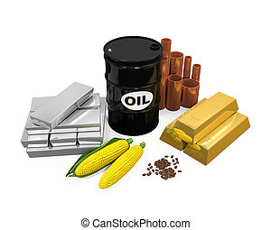 Commodities Isolated - Commodities - Oil, Gold, Silver,...