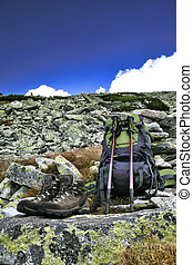hiking equipment,trekking poles, backpack and boots