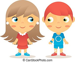 Girl and Boy Cartoon Character Children Icons Isolated...