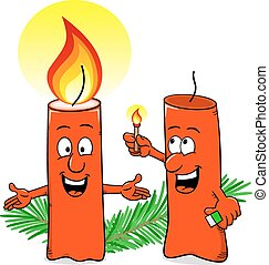 cartoon of a Christmas candle that ignites another candle -...