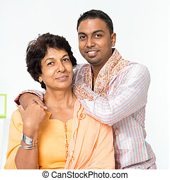 Indian family mature mother and adult son