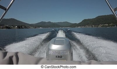 motor boat water - jets of water in the lake, from the river...