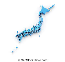 Map of Japan with provinces in separate pieces