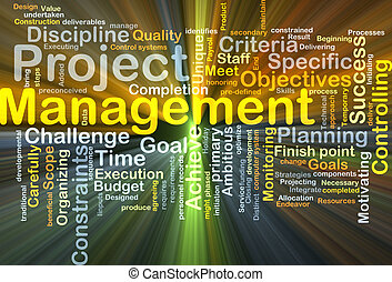 Project management background concept glowing