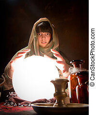 fortune telling with a crystal ball
