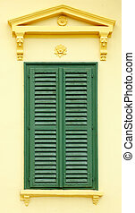 Front view of neoclassical with Bahama shutters - Front view...