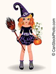 Halloween little witch with pumpkin and broom, vector...