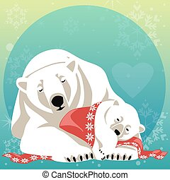 Greeting Card with Polar bear family. Mother bear cuddling...