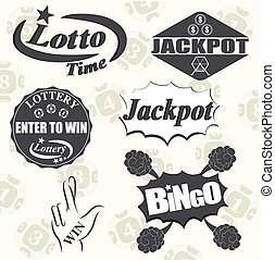 Lottery and gambling money game icon set isolated vector...